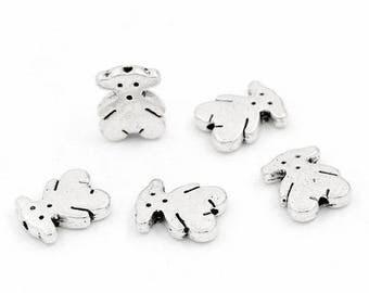 Set of 10 Teddy bear metal beads silver, 11x9mm