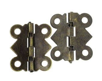 Small pair of hinges color bronze to articulate an object of your creation