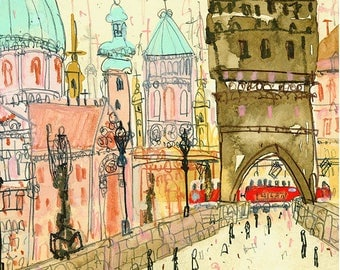 PRAGUE ART PRINT, Charles Bridge, Czech Painting, Prague Wall Art, 8 x 10 inch, Watercolor Sketch, Prague Tram Illustration, Drawing