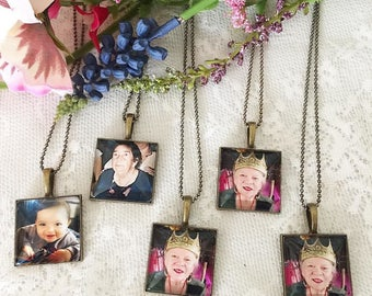 25mm Square Memory Photo Charm, Memorial Photo Charm, Photo Frame Necklace, Keepsake Necklace, Custom Photograph Necklace, In Loving Memory