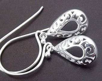 SUMMER SALE Sterling Silver Filigree Teardrop Earrings