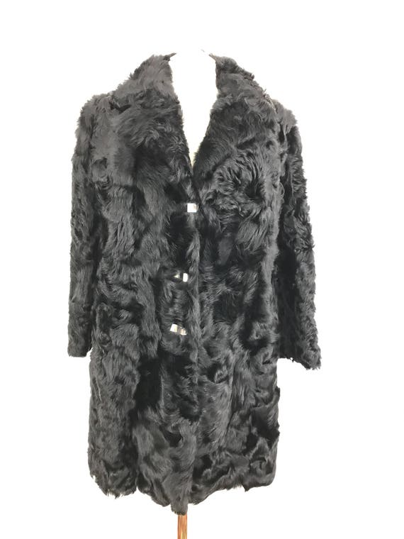 vintage fur coat 1970s black furry midi jacket Mod silver buckle curly real fur UK 14 winter 70s Goth Swears and Wells