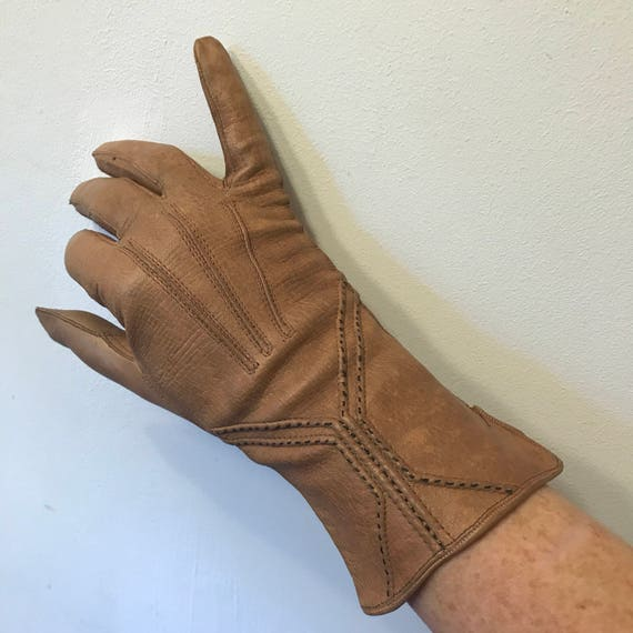 1920s gloves brown leather gloves tan brown 1930s gauntlet small 6 Art Deco 20s 30s winter gloves