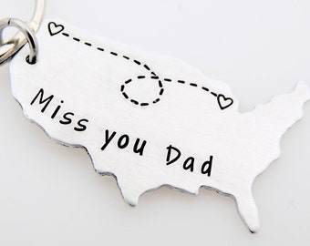 Long distance family, Miss you Dad, Long distance Dad, Moving Gift, Going away College, Out of state move, USA Map, Long distance gift