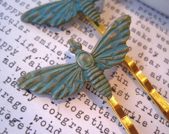 Moth Bobby Pins, 2 Green Patina Hair Pins, Verdigris Insect Hair Accessory, Woodland, Nature, Quirky Hair Accessory, Outdoor, Bugs