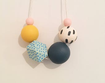Handpainted Wooden Bead necklace | pop of yellow and turquoise dots | READY TO SHIP