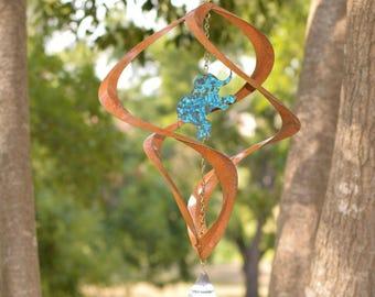 BreezeWay Elephant Wind Spinner | Garden Wind Art w/ Copper Patinas & Cyrstal Suncatcher | 2 Sizes | Pure Copper | | Handcrafted in Texas