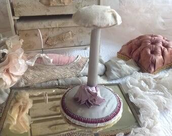 Gorgeous antique boudoir ribbonwork hat stand