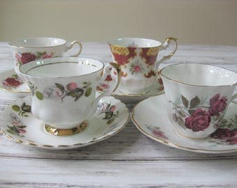 Bone China Tea Cups, Instant Collection, set of 4 Assorted Vintage English China Tea Cups and Saucers