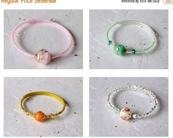Summer Sale Little Girls Murano Bead bracelet, Genuine Murano Venetian Glass in Four color options, Pink, Green, Orange or White; Memory wir