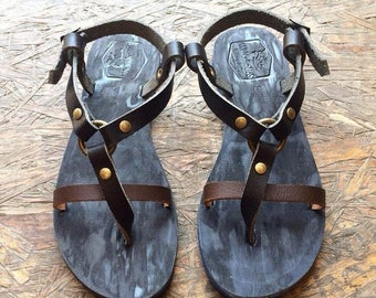 15% OFF The Inspirator - Black-Brown / Blue Leather Sandals for Men & Women - Design 33b - Lightweight Design - Black Handmade Leather Sanda