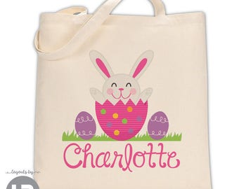 personalized easter tote bag - GIRLS Easter Basket