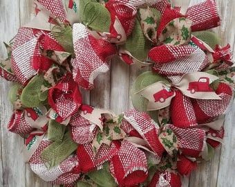 Christmas red truck wreath