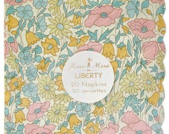Liberty Poppy & Daisy Small Napkin~Floral Party Napkin~Set Of 20 Napkins