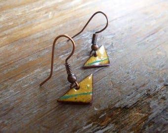 Small designer earrings - copper enamel earrings - Stud mini triangles - mustard, ochre, Tan, yellow, turquoise