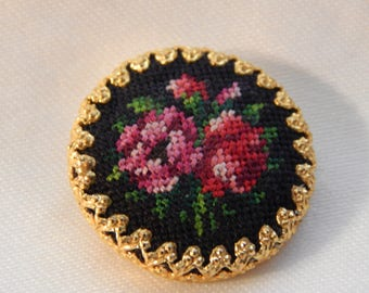 Rose Petit Point Fabric Button in a Brass Cup Marked Austria