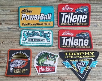Vintage Fishing Patches, Power Bait, Trilene, Strike King, Heddon, Bass Research Foundation (price is per patch)