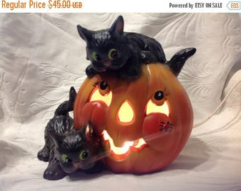 4th of July sale Vintage Lighted Pumpkin With Black Cats Ceramic Pumpkin and Black Cats Vintage Halloween Ceramic Decor