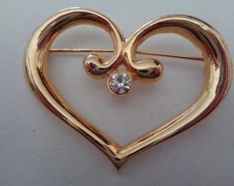 Vintage Signed AAI Goldtone/AB Stone Heart  Brooch/Pin