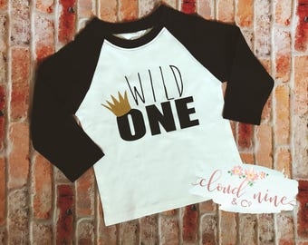 Wild One, Where the wild things are, First Birthday, One year old, Raglan, Baseball Tee