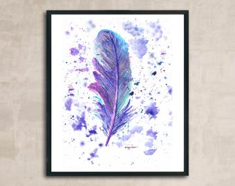 PRINT Colourful Feather Painting 8 x 10 or 11 x 14