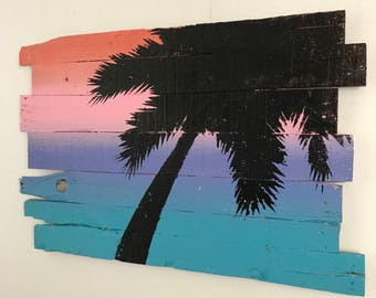 """Beach Decor Palm Tree Silhouette at Dusk Rt Lean 32"""" x 21"""" On Coral, Pink, Purple and Blue Sunset"""