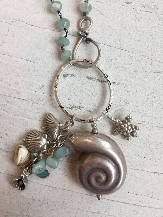 Ocean Mist.  Long aquamarine necklace with fine silver and real shells. Handmade and one of a kind by ladeDAH!