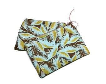 Reusable Zipper Snack Sandwich Bags set of 2 Brown Blue Gold
