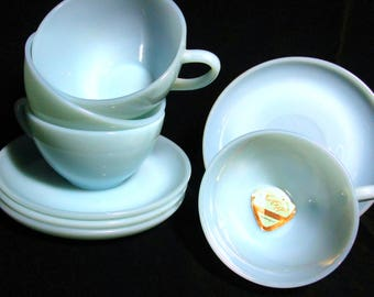 Fire King Cups and Saucers , Blue Turquoise, Set of 4 Cups and Saucers, Excellent Condition,  Mid Century Dinnerware