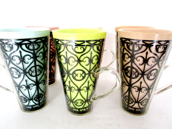 Insulated Mugs Cups, Tall Set of 6, Mid Century Multi Colored with Black Scrolling Inner Design Retro Patio Dining Poolside