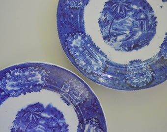 "Flow Blue Transferware Plates, 8.25"", Set of 2, 1830's, Malta, Franz Mehlem, Bonn Germany (B)"