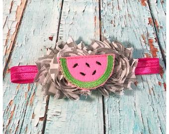 Baby Headband, Baby Girl Headband, Chevron Grey and Watermelon Shabby with Bow Hair Clip