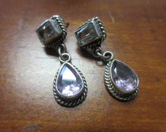 Blue Topaz Amethyst Sterling Silver 925 Post Earrings