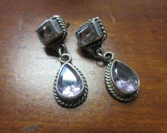 Blue Topaz Amethyst Sterling Silver 925 Post Earrings