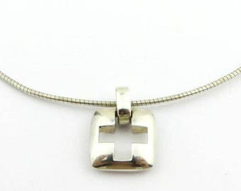 TIFFANY CROSS NECKLACE - Sterling Silver Cross on Wire Necklace