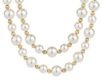 Jackie Kennedy Double Strand Pearl Necklace with 24K GP Beads, Box and Certificate