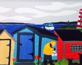 Salty Dogs Card, 5x7, Port Mouton, Nova Scotia, Kelly Burgess, Folk Artist, Shoreline, Make and Break, Sou' West