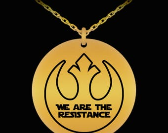 Star Wars Rebel Resistance Laser Engraved Necklace Gift Resist (Choice of Metal)
