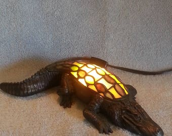 Nightlight - Accent Lamp - Stained Glass Alligator