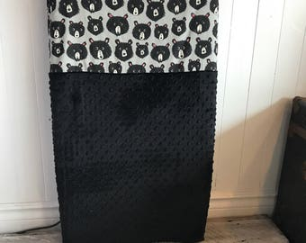 crib sheet for changing mat,  bears and black minky (soft)