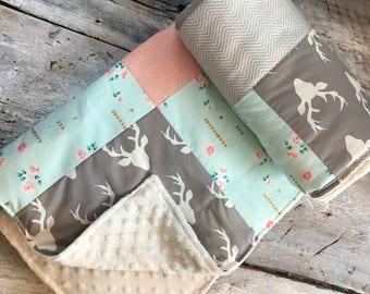 Baby blanket ,vintage flowers,  grey zigzag, deers and peach grid, ivory minky