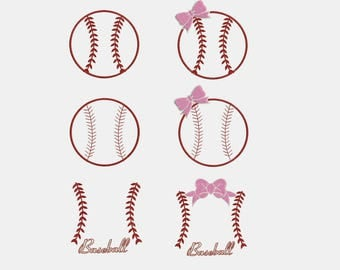 6 Design Set - Baseball Monogram with Bow Machine Embroidery Designs - Instant Download Applique Embroidery Design 315
