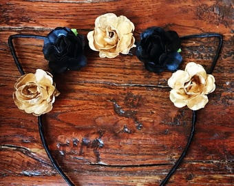 Floral Black & Gold Cat Ears Headband