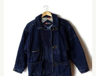ON SALE Vintage Denim Zip up lined  Duffle Coat /Jacket from 1980's*