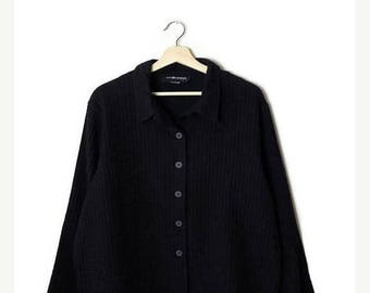 ON SALE Vintage Oversized Black  Cotton Long Sleeve Blouse  from 90's*