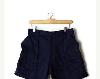 ON SALE Vintage Navy Cotton Cargo Shorts from 90's/W28-34*