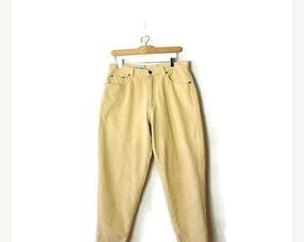 ON SALE Vintage Pale/Pastel Yellow Corduroy tapered Pants from 90's/W30*