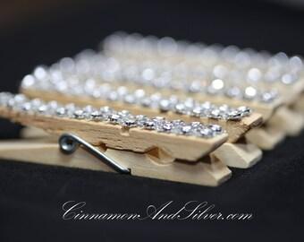 Silver Sparkle Rhinestone Clothespins, Rhinestone Clothespeg, Sparkle Rhinestone Photo Clip, Silver Ribbon Photo Holder