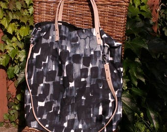 """Large canvas shopper """"Blue-white"""" with leather handles"""