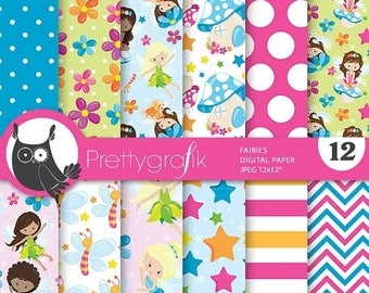 80% OFF SALE fairies digital paper, fairy scrapbook commercial use, scrapbook papers, background, christmas - PS780